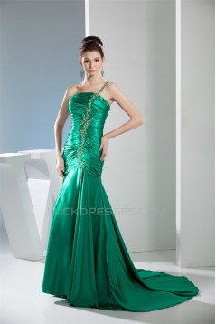 One-Shoulder Long Green Beaded Prom Evening Formal Dresses 02020334