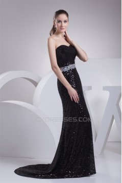 Trumpet/Mermaid Sweetheart Beading Sequined Material Long Black Prom/Formal Evening Dresses 02020339