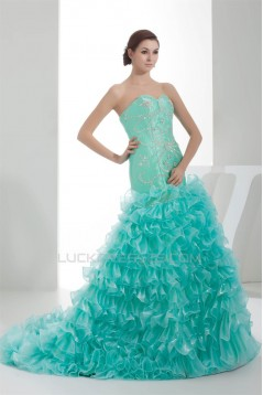 Sleeveless Beading Taffeta Tulle Brush Sweep Train Prom/Formal Evening Dresses 02020340