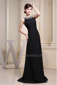 Beaded Long Black Brush Sweep Train Beading Scoop Prom/Formal Evening Dresses 02020342