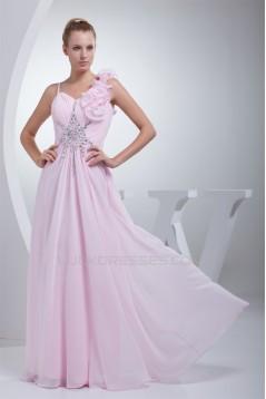 A-Line Sleeveless Chiffon Beading Long Pink Prom/Formal Evening Bridesmaid Dresses 02020350