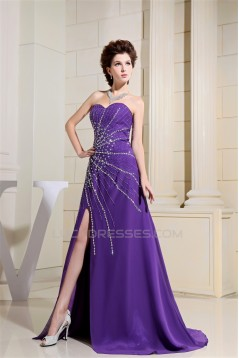 Sleeveless Chiffon Beading Long Purple Prom/Formal Evening Dresses 02020351