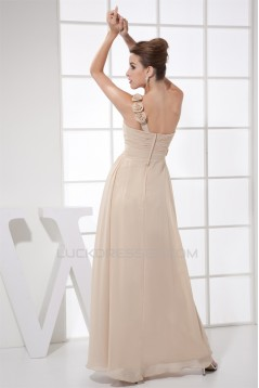 One-Shoulder Chiffon Brush Sweep Train Prom/Formal Evening Dresses 02020352