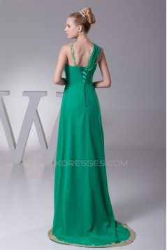 Empire One-Shoulder Long Green Brush Sweep Train Prom/Formal Evening Dresses 02020353