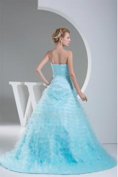 Sleeveless Satin Fine Netting Long Blue Prom/Formal Evening Dresses 02020357