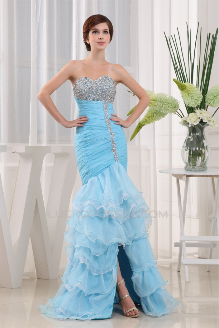 Trumpet/Mermaid Sweetheart Floor-Length Beading Long Blue Prom/Formal Evening Dresses 02020368