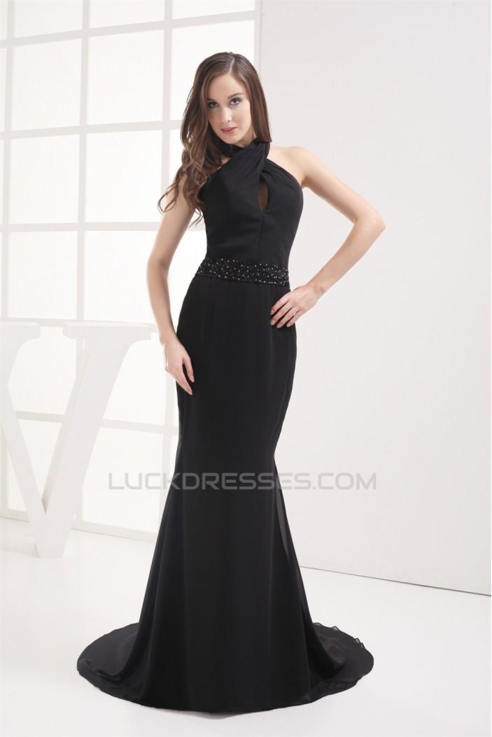 Trumpet/Mermaid Halter Floor-Length Beading Long Black Prom/Formal Evening Dresses 02020369