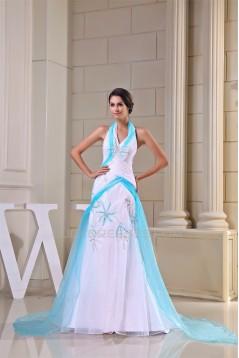 Mermaid/Trumpet Halter Beading Satin Yarn Prom/Formal Evening Dresses 02020372
