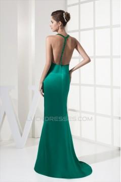 Mermaid/Trumpet Brush Sweep Train Deep V-Neck Long Green Prom/Formal Evening Dresses 02020373