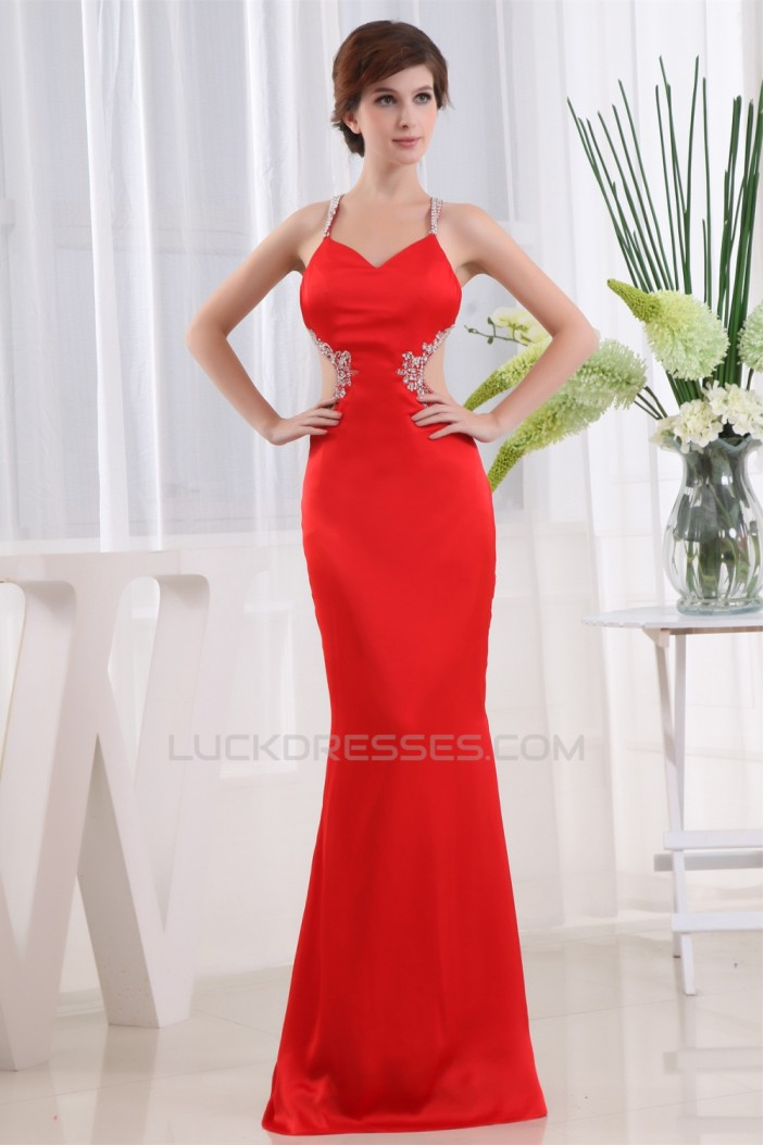 Mermaid/Trumpet Halter Beaded Long Red Prom/Formal Evening Dresses 02020374