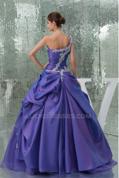 Ball Gown One-Shoulder Beaded Appliques Floor-Length Prom/Formal Evening Dresses 02020375