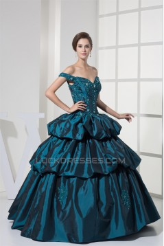 Ball Gown Sleeveless Off-the-Shoulder Beaded Appliques Long Prom/Formal Evening Dresses 02020378