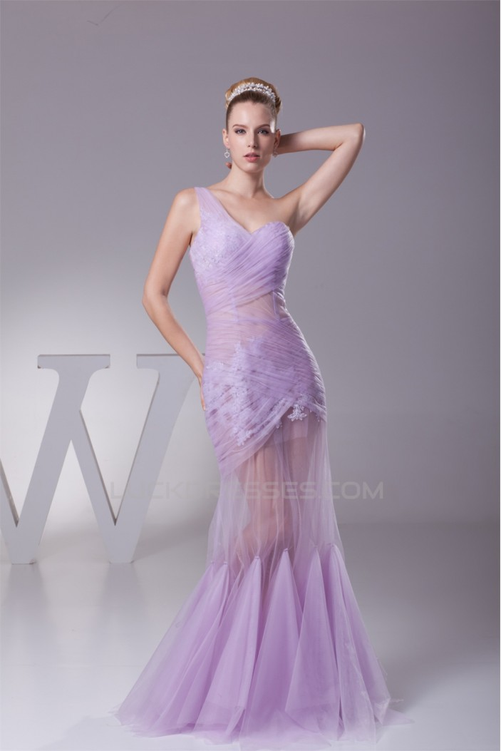 Trumpet/Mermaid One-Shoulder Floor-Length Ruffles Prom/Formal Evening Dresses 02020381