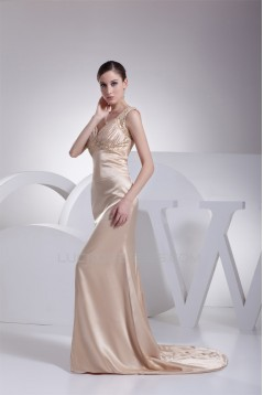Trumpet/Mermaid Silk like Satin Brush Sweep Train Beaded Prom/Formal Evening Dresses 02020382