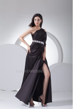 Sleeveless Silk like Satin One-Shoulder Long Black Prom/Formal Evening Dresses 02020383