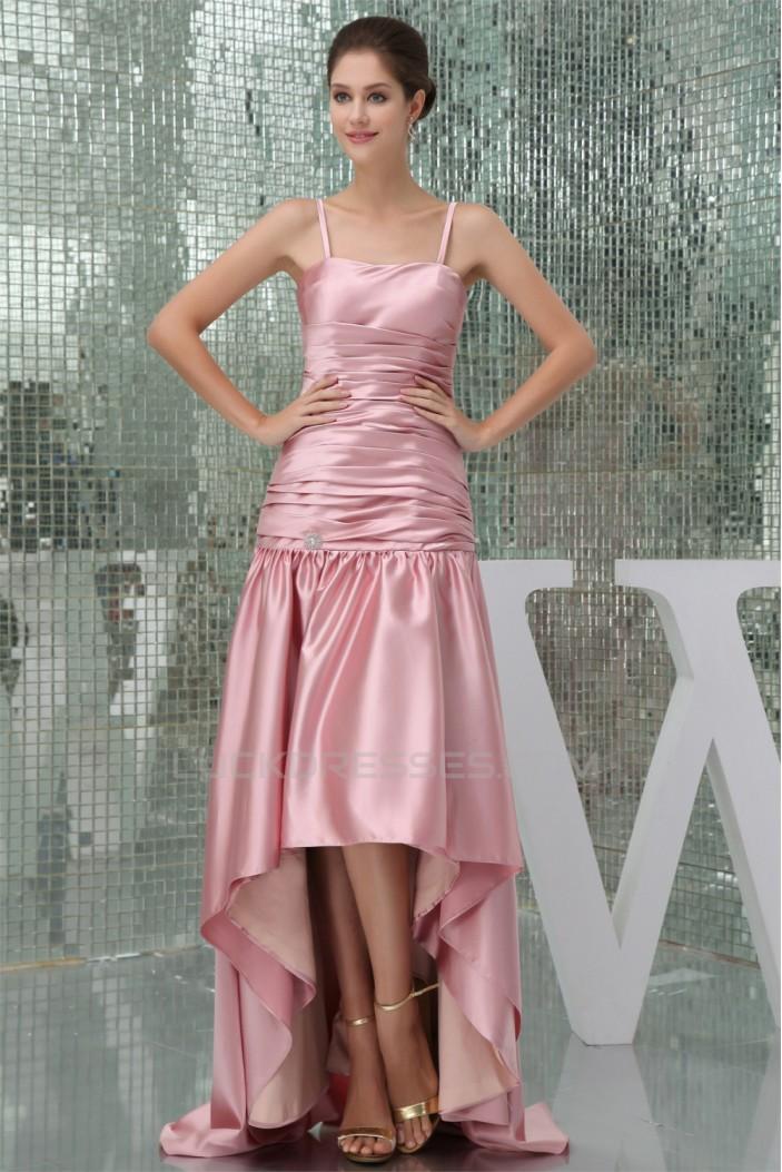 High Low Silk like Satin Spaghetti Straps Prom/Formal Evening Bridesmaid Dresses 02020385