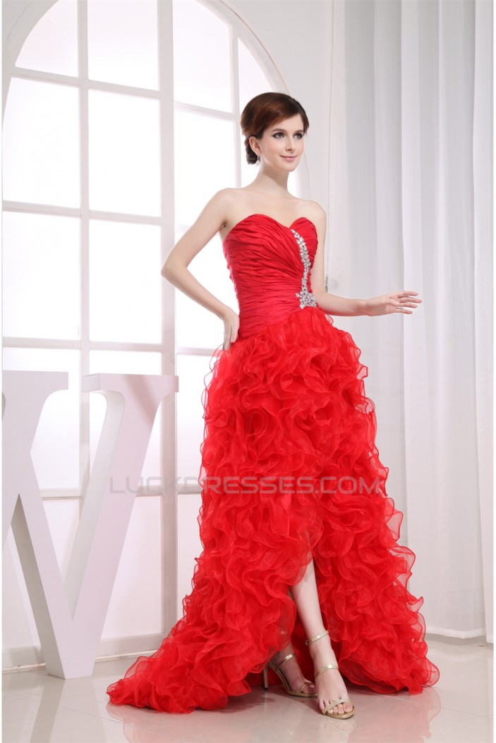 Sleeveless Sweetheart Beading Brush Sweep Train Long Red Prom/Formal Evening Dresses 02020386