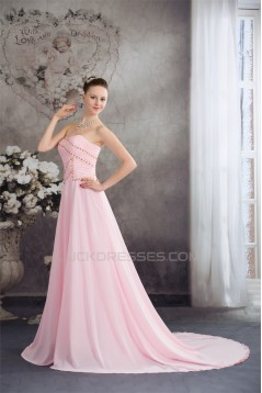 A-Line Sweetheart Beaded Long Pink Chiffon Prom/Formal Evening Dresses 02020387
