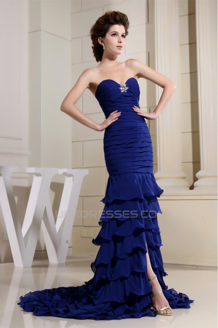 Long Blue Sweetheart Ruffles Chiffon Prom/Formal Evening Dresses 02020389