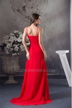 A-Line Spaghetti Straps Chiffon Long Red Prom/Formal Evening Dresses 02020393