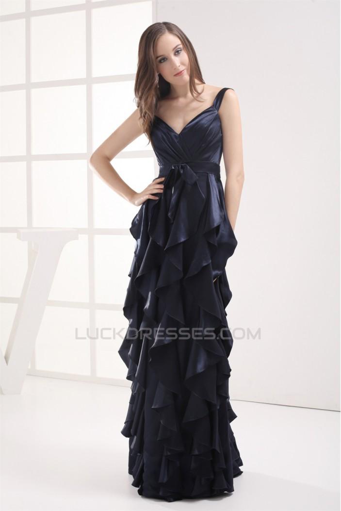 Sheath/Column Spaghetti Straps Cascading Ruffles Long Prom Evening Formal Dresses 02020394