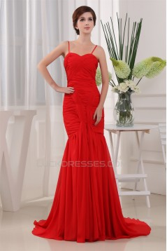 Mermaid/Trumpet Spaghetti Straps Sleeveless Long Red Prom/Formal Evening Dresses 02020396