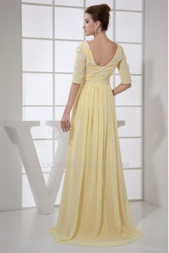 A-Line Half Sleeve Square Ankle-Length Chiffon Prom/Formal Evening Mother of the Bride Dresses 02020398