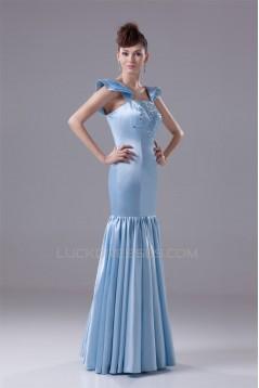 Mermaid/Trumpet Square Silk like Satin Long Prom Evening Formal Dresses 02020399