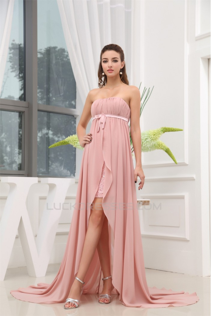 A-Line Strapless Bows Sleeveless Chiffon Beaded Prom/Formal Evening Dresses 02020400