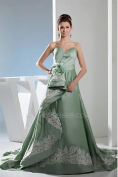 A-Line Sweetheart Handmade Flowers Brush Sweep Train Prom/Formal Evening Dresses 02020401