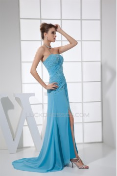Sheath/Column Strapless Beading Chiffon Long Blue Prom/Formal Evening Dresses 02020403