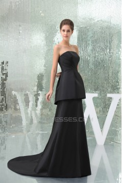 A-Line Strapless Brush Sweep Train Long Black Prom/Formal Evening Bridesmaid Dresses 02020404