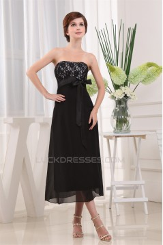 A-Line Strapless Chiffon Lace Black Prom/Formal Evening Bridesmaid Dresses 02020405
