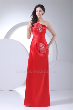 Strapless Silk like Satin Sheath/Column Beaded Long Red Prom/Formal Evening Dresses 02020409