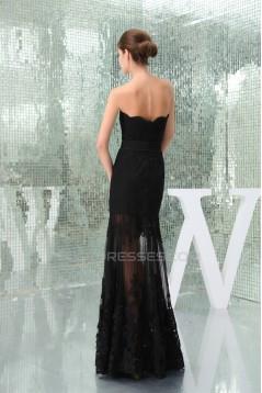 Elegant Strapless Sleeveless Floor-Length Chiffon Lace Long Black Prom/Formal Evening Dresses 02020411