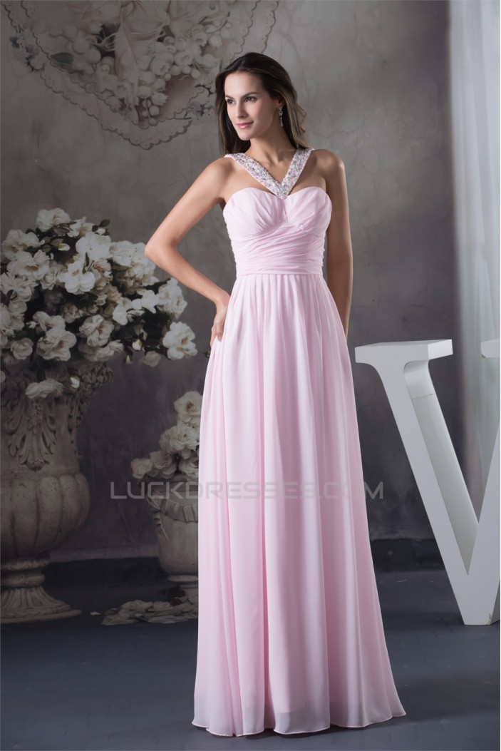 Straps Chiffon Beading Long Pink Prom/Formal Evening Bridesmaid Dresses 02020414