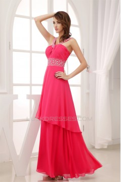A-Line Beaded Straps Chiffon Long Prom/Formal Evening Dresses 02020415