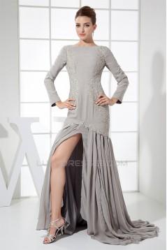Straps Sheath/Column Pleats Long Sleeves Prom/Formal Evening Dresses 02020420