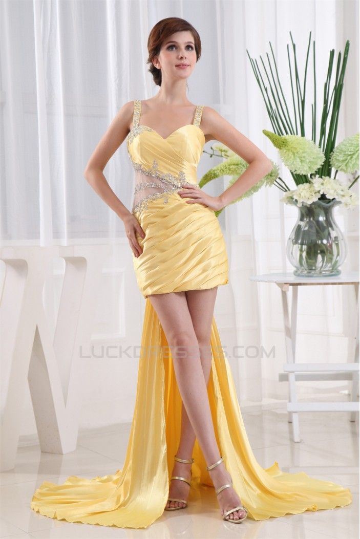 Straps Sleeveless Sheath/Column Ruffles Prom/Formal Evening Dresses 02020421