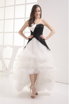 A-Line Sweetheart Sleeveless Cascading Ruffles Black White Prom/Formal Evening Dresses 02020423