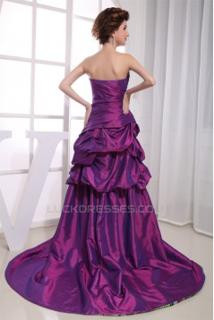 High Low Sweetheart Court Train Beading Sleeveless Prom/Formal Evening Dresses 02020431