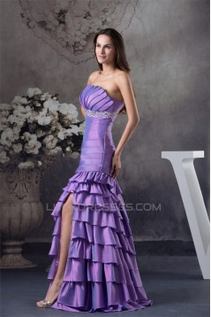 A-Line Taffeta Floor-Length Strapless Ruched Prom/Formal Evening Dresses 02020444