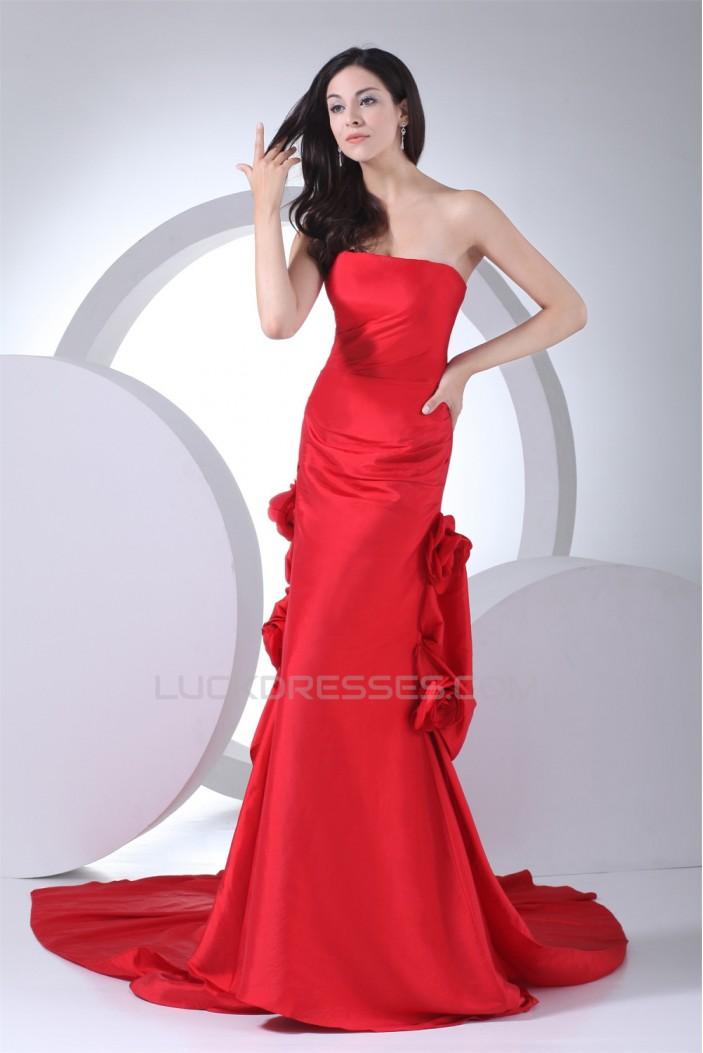 Trumpet/Mermaid Taffeta Sleeveless Handmade Flowers Prom/Formal Evening Dresses 02020446