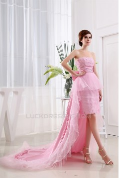 Taffeta Tulle Strapless Beading Sleeveless Prom/Formal Evening Dresses 02020448
