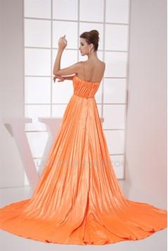 A-Line V-Neck Sleeveless Ruffles Brush Sweep Train Prom/Formal Evening Dresses 02020449