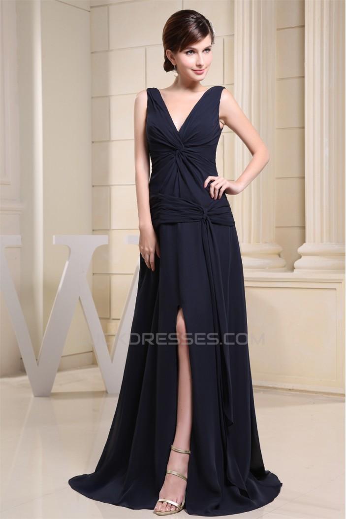 A-Line V-Neck Criss Cross Brush Sweep Train Chiffon Prom/Formal Evening Dresses 02020452