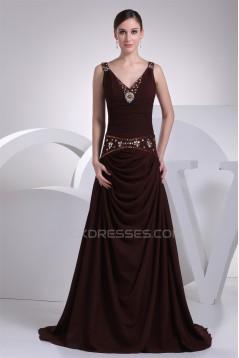 A-Line V-Neck Chiffon Beading Sleeveless Prom/Formal Evening Dresses 02020454