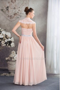 Sheath/Column Deep V-Neck Chiffon Lace Capped Sleeves Prom/Formal Evening Dresses 02020455