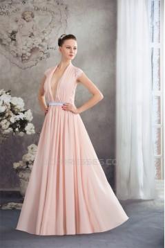 Sheath/Column Deep V-Neck Chiffon Lace Capped Sleeves Prom/Formal Evening Dresses 02020455