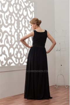 A-Line Beading Floor-Length Square Long Black Chiffon Prom/Formal Evening Dresses 02020456